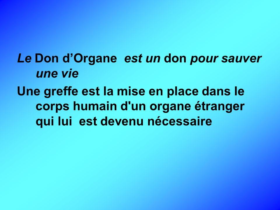 Le Don d'Organe est un don pour sauver une vie