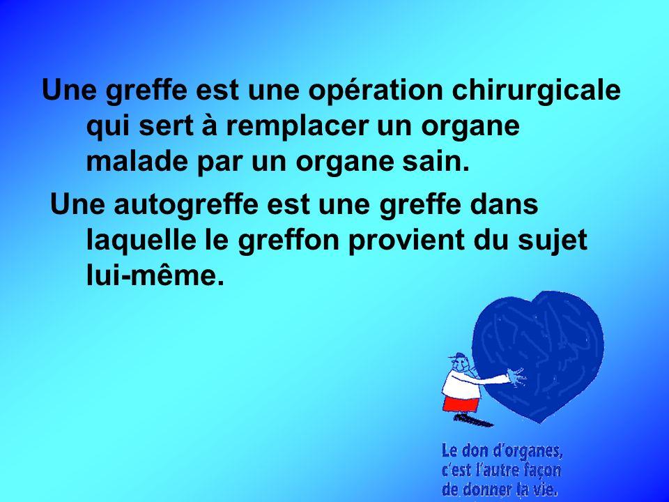 Une greffe est une opération chirurgicale qui sert à remplacer un organe malade par un organe sain.