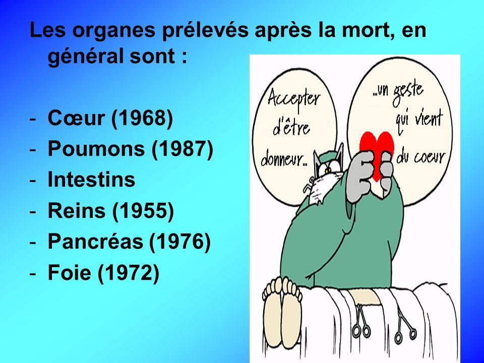 Les organes prélevés après la mort, en général sont :