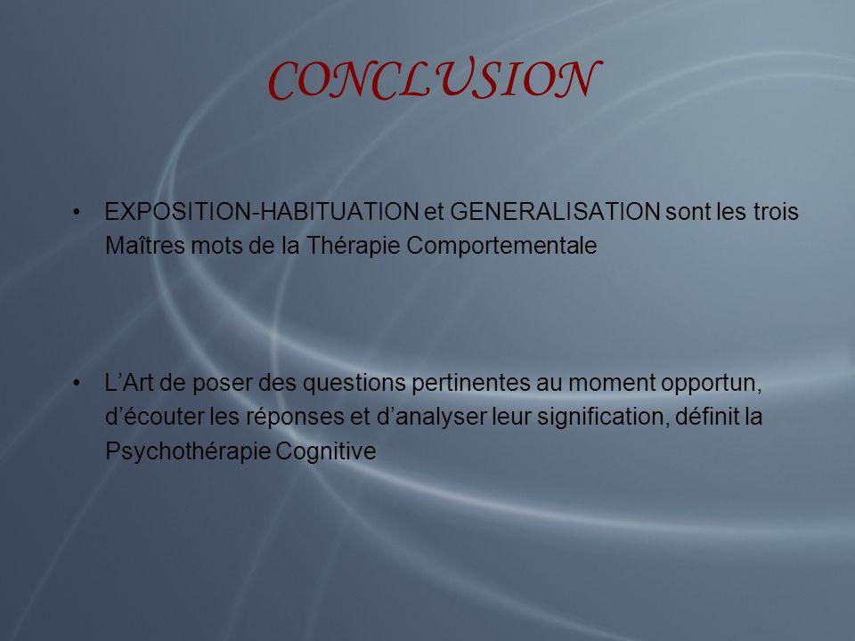 CONCLUSION EXPOSITION-HABITUATION et GENERALISATION sont les trois