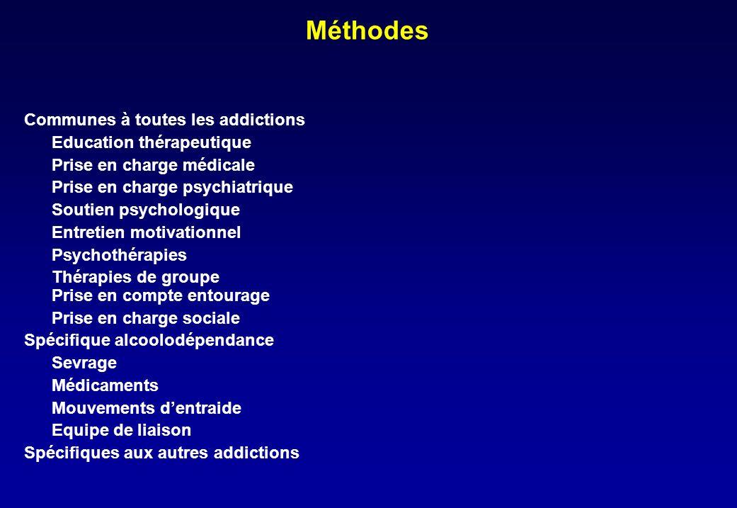 Méthodes Communes à toutes les addictions Education thérapeutique