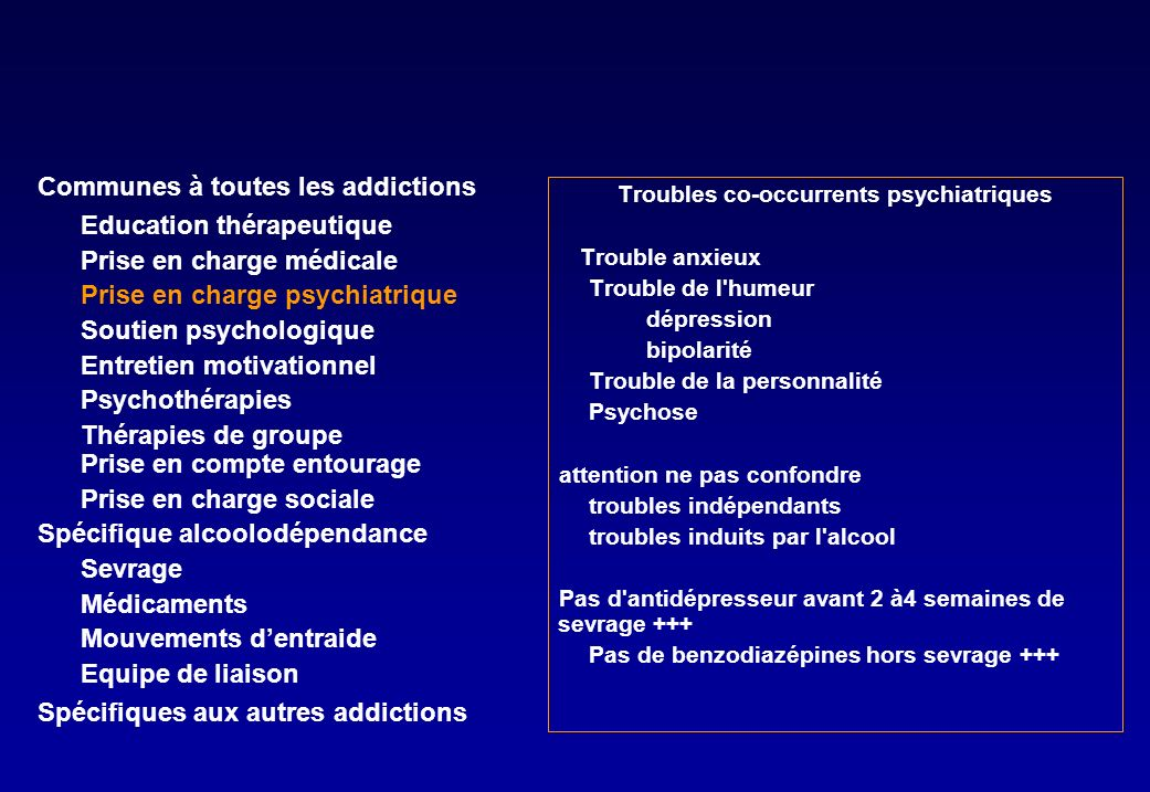 Troubles co-occurrents psychiatriques