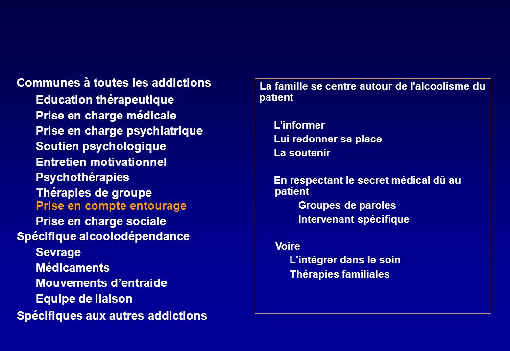 Communes à toutes les addictions Education thérapeutique