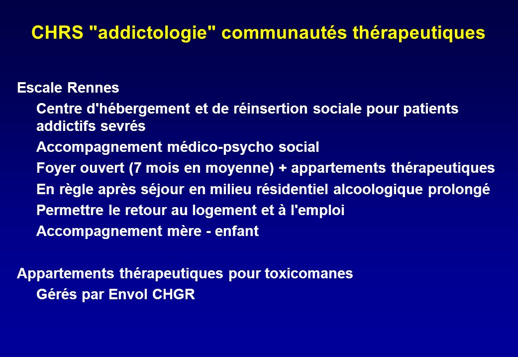 CHRS addictologie communautés thérapeutiques