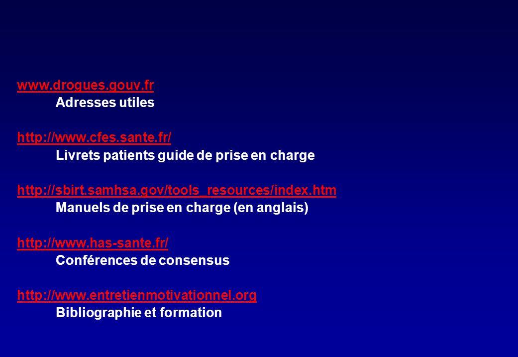 www.drogues.gouv.fr Adresses utiles. http://www.cfes.sante.fr/ Livrets patients guide de prise en charge.