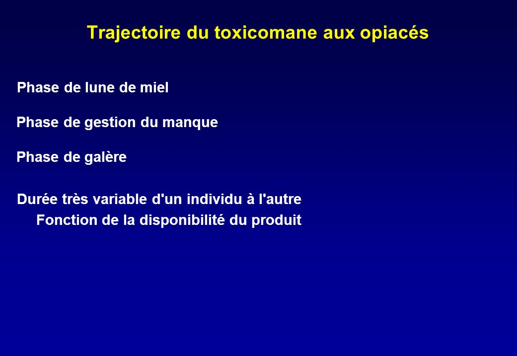 Trajectoire du toxicomane aux opiacés