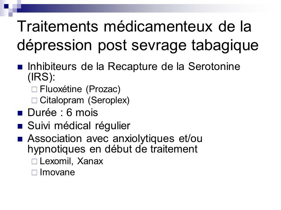 Traitements médicamenteux de la dépression post sevrage tabagique