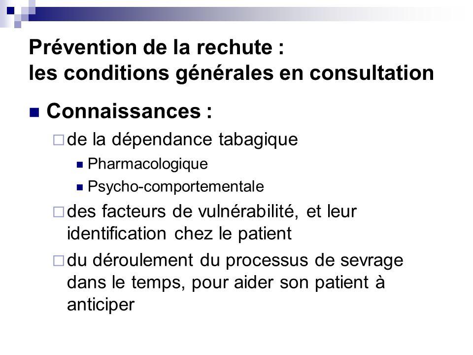 Prévention de la rechute : les conditions générales en consultation
