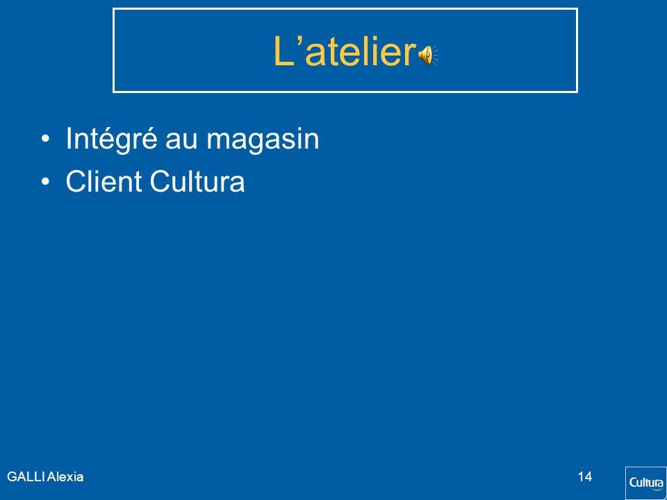 L'atelier Intégré au magasin Client Cultura GALLI Alexia