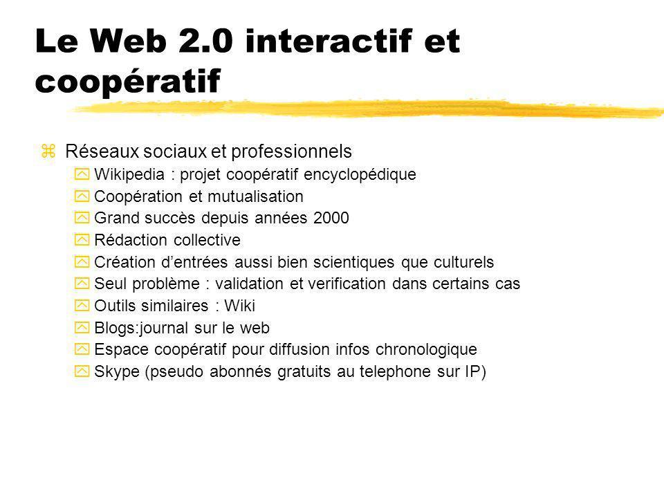 Le Web 2.0 interactif et coopératif