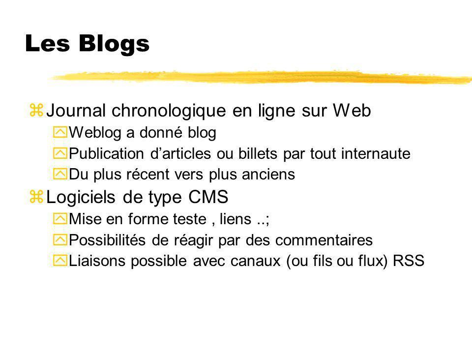 Les Blogs Journal chronologique en ligne sur Web Logiciels de type CMS