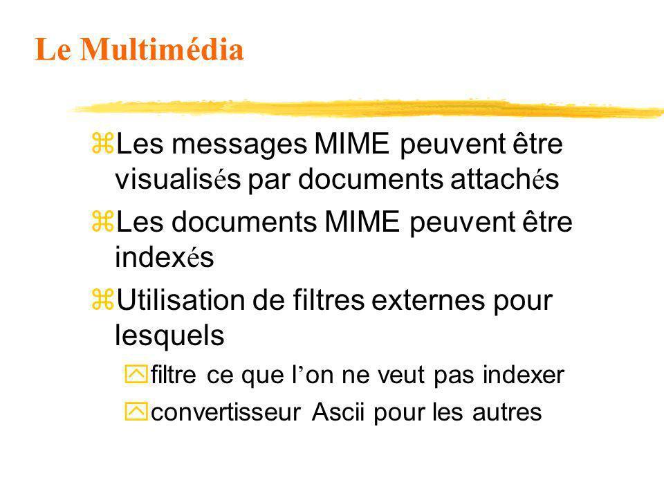 Le Multimédia Les messages MIME peuvent être visualisés par documents attachés. Les documents MIME peuvent être indexés.