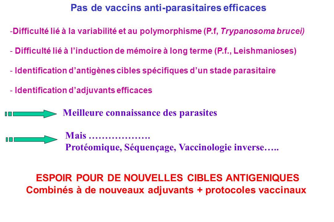 Pas de vaccins anti-parasitaires efficaces