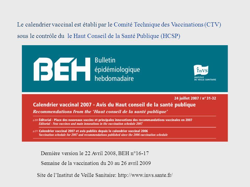Le calendrier vaccinal est établi par le Comité Technique des Vaccinations (CTV) sous le contrôle du le Haut Conseil de la Santé Publique (HCSP)
