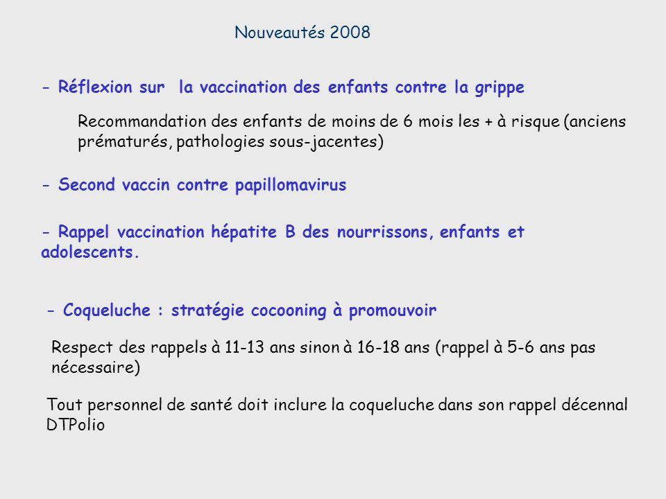 Nouveautés 2008 - Réflexion sur la vaccination des enfants contre la grippe.