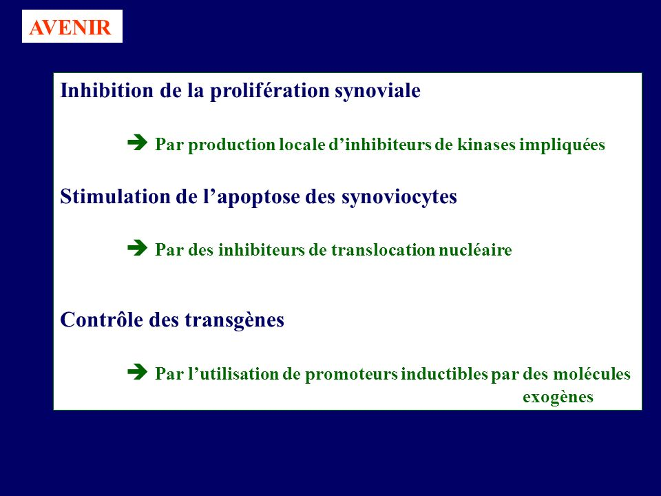 Inhibition de la prolifération synoviale