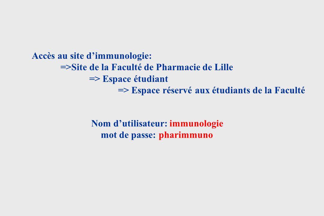Nom d'utilisateur: immunologie mot de passe: pharimmuno