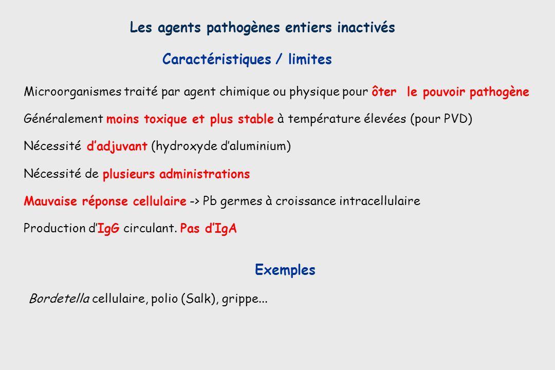 Les agents pathogènes entiers inactivés