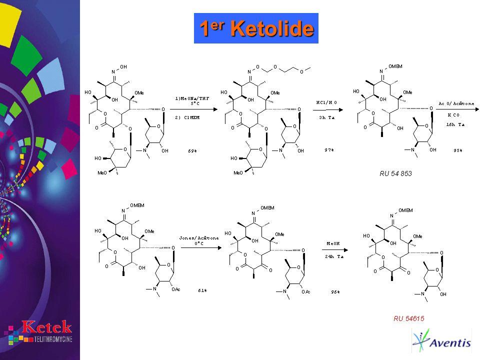 1er Ketolide On poursuit la synthèse par les opérations suivantes: