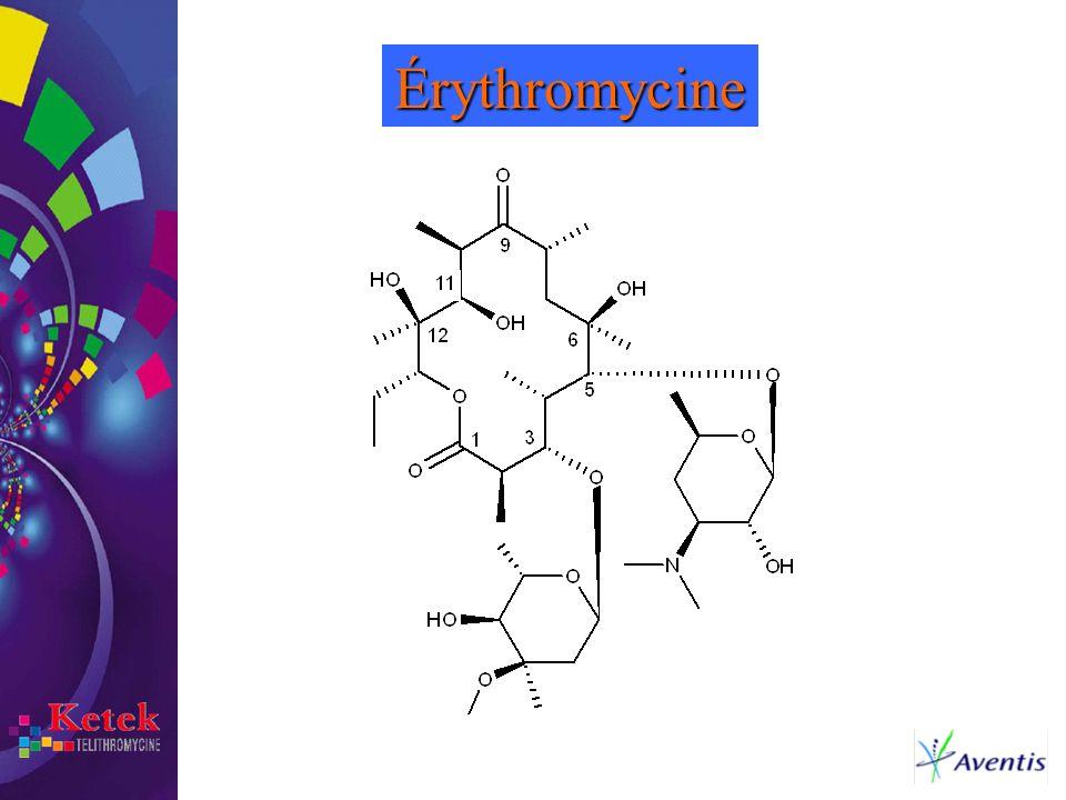 Érythromycine L'érythromycine fait partie de la famille des macrolides: c'est une macrolactone comportant 14 atomes qui comprend: