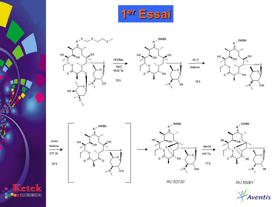 1er Essai Le point de départ est la Roxithromycine (molécule Aventis). On réalise les opérations suivantes: