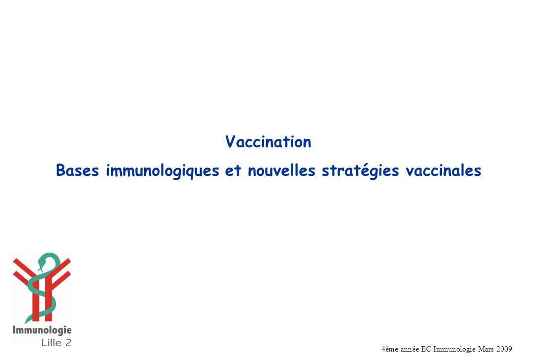 Bases immunologiques et nouvelles stratégies vaccinales