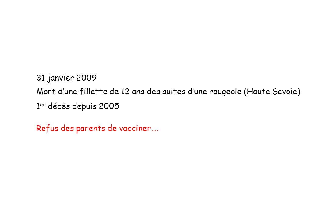 31 janvier 2009 Mort d'une fillette de 12 ans des suites d'une rougeole (Haute Savoie) 1er décès depuis 2005.
