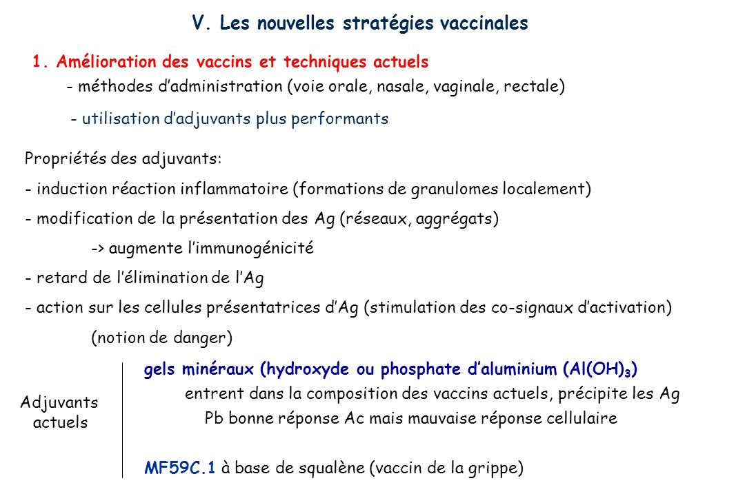 V. Les nouvelles stratégies vaccinales