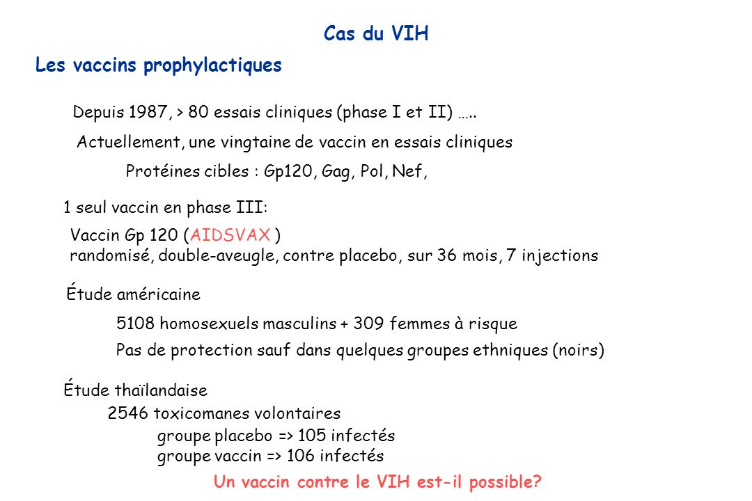 Les vaccins prophylactiques
