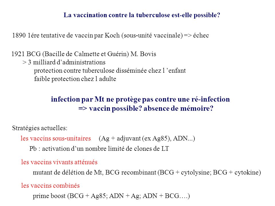 infection par Mt ne protège pas contre une ré-infection