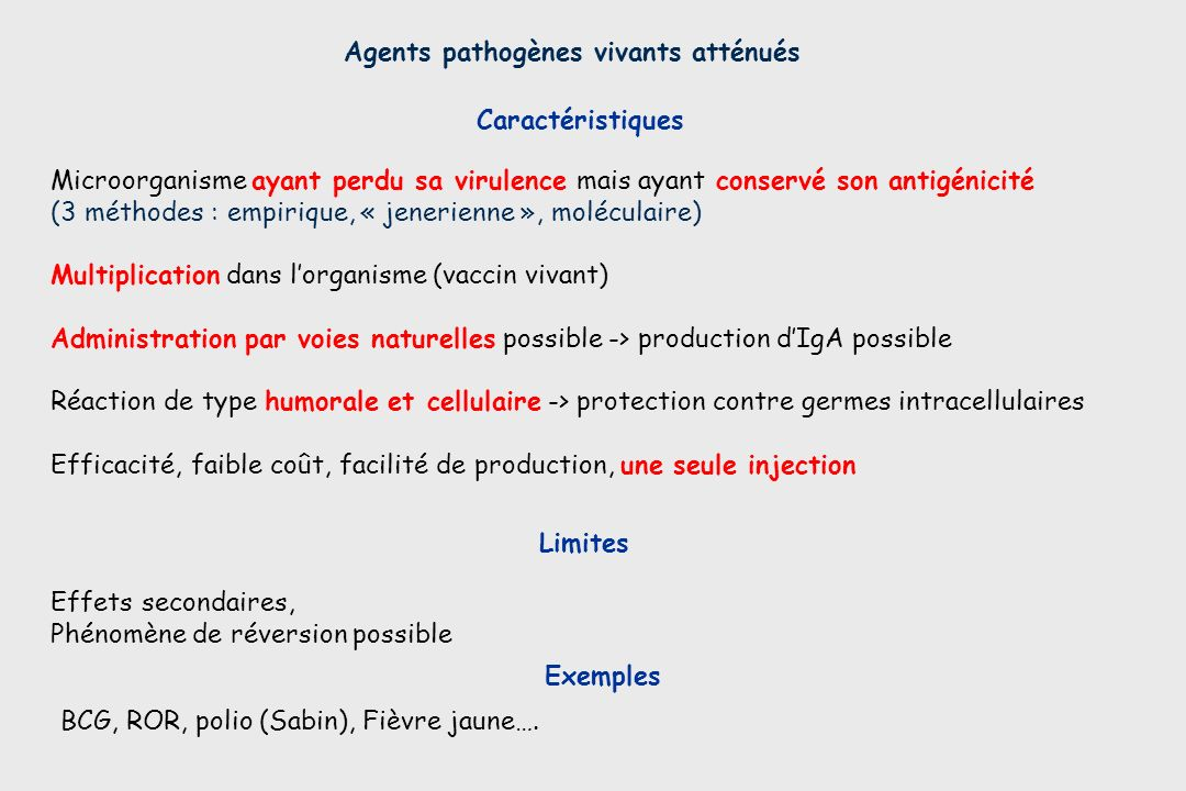Agents pathogènes vivants atténués