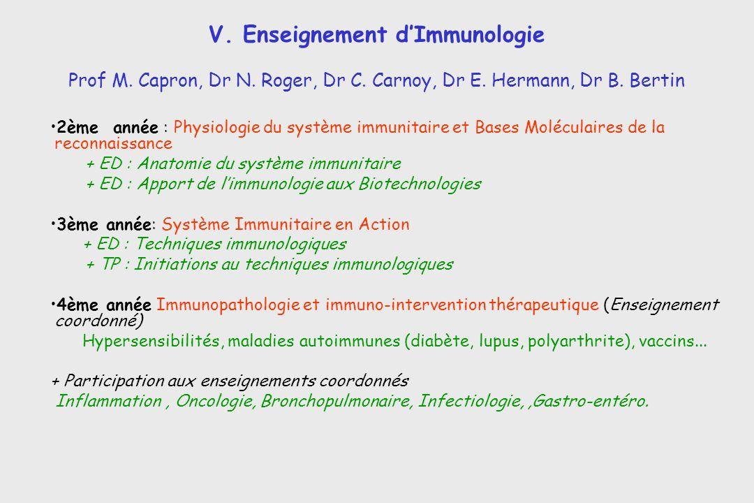 V. Enseignement d'Immunologie