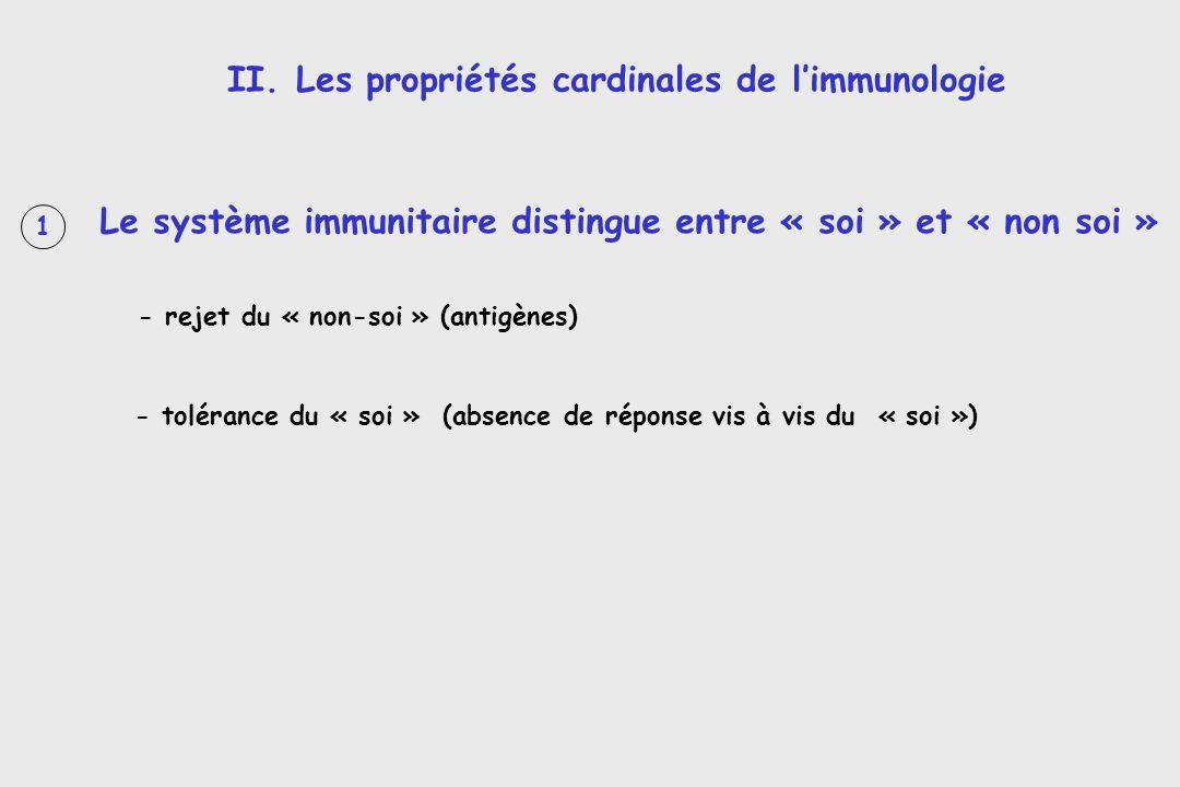 II. Les propriétés cardinales de l'immunologie