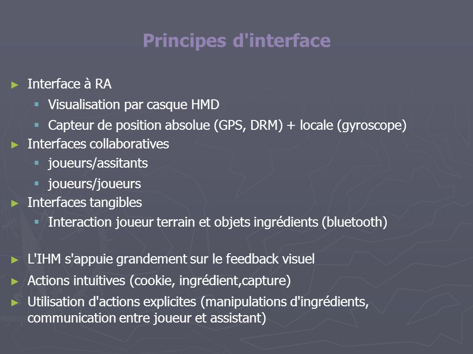 Principes d interface Interface à RA Visualisation par casque HMD