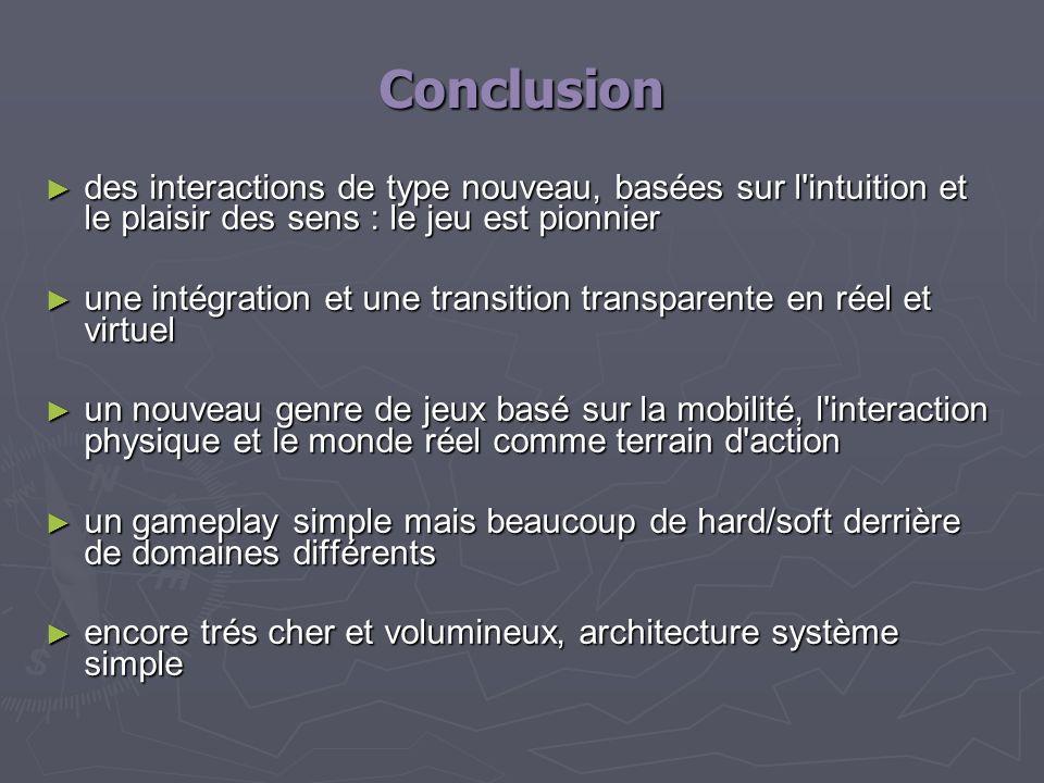 Conclusiondes interactions de type nouveau, basées sur l intuition et le plaisir des sens : le jeu est pionnier.