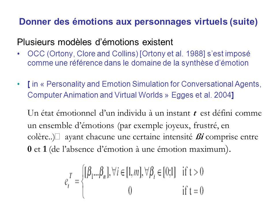 Donner des émotions aux personnages virtuels (suite)