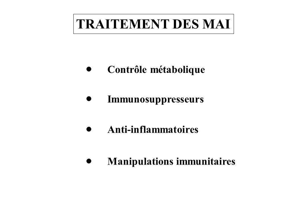 TRAITEMENT DES MAI Contrôle métabolique Immunosuppresseurs