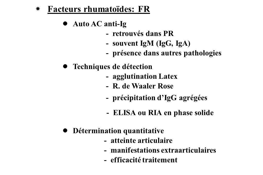 Facteurs rhumatoïdes: FR