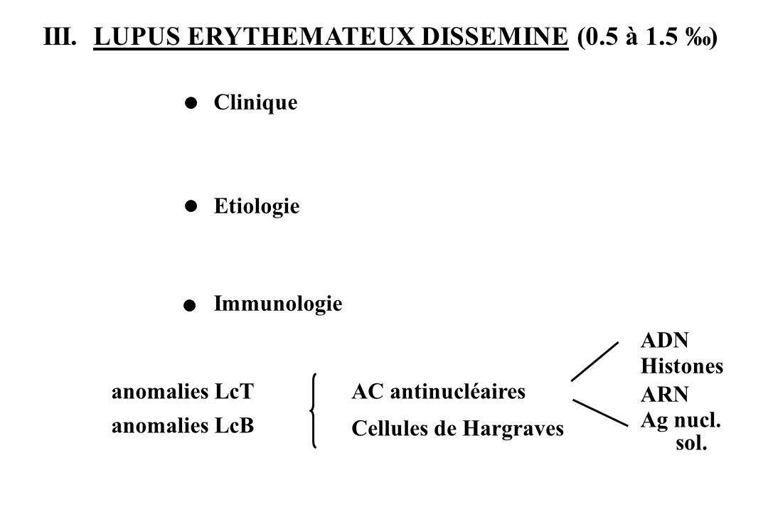 III. LUPUS ERYTHEMATEUX DISSEMINE (0.5 à 1.5 ‰)