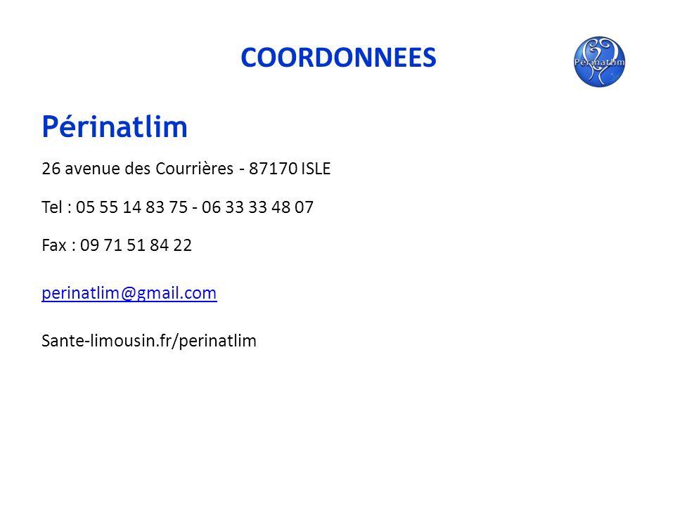 COORDONNEES Périnatlim 26 avenue des Courrières - 87170 ISLE