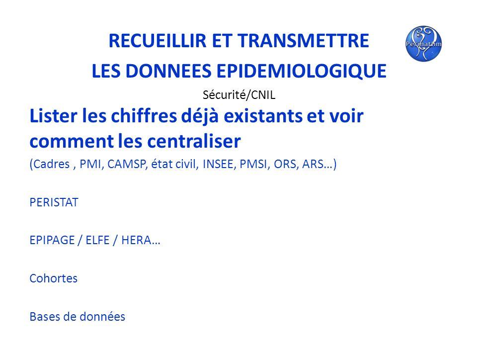 RECUEILLIR ET TRANSMETTRE LES DONNEES EPIDEMIOLOGIQUE