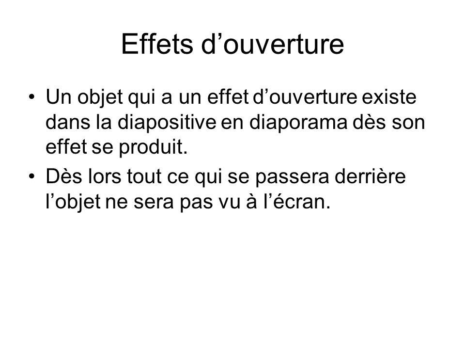 Effets d'ouverture Un objet qui a un effet d'ouverture existe dans la diapositive en diaporama dès son effet se produit.