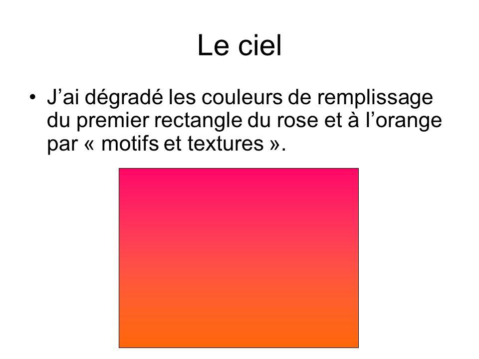 Le ciel J'ai dégradé les couleurs de remplissage du premier rectangle du rose et à l'orange par « motifs et textures ».
