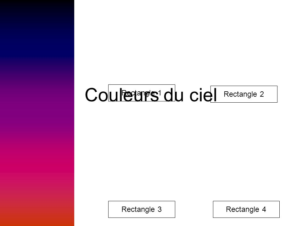 Couleurs du ciel Rectangle 1 Rectangle 2 Rectangle 3 Rectangle 4