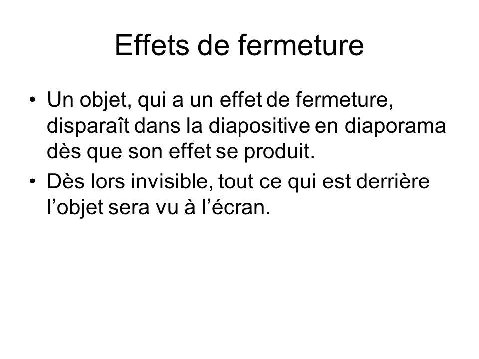Effets de fermeture Un objet, qui a un effet de fermeture, disparaît dans la diapositive en diaporama dès que son effet se produit.