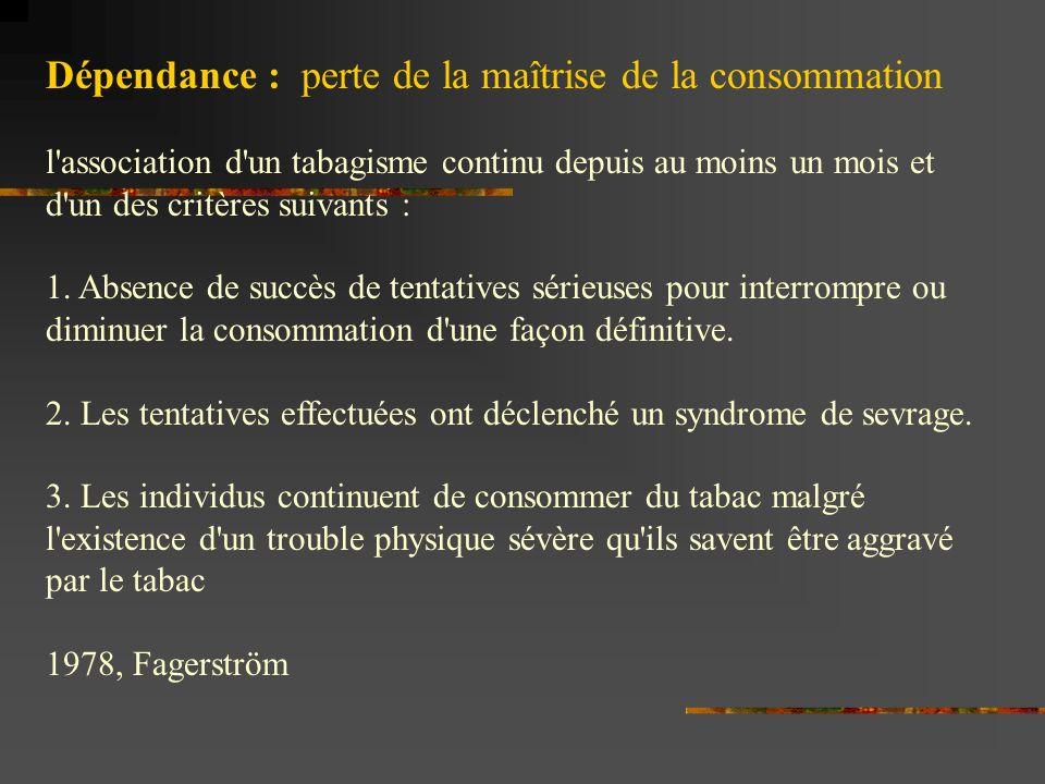Dépendance : perte de la maîtrise de la consommation l association d un tabagisme continu depuis au moins un mois et d un des critères suivants : 1.