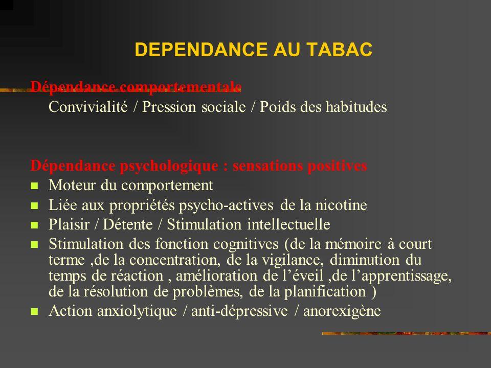 DEPENDANCE AU TABAC Dépendance comportementale