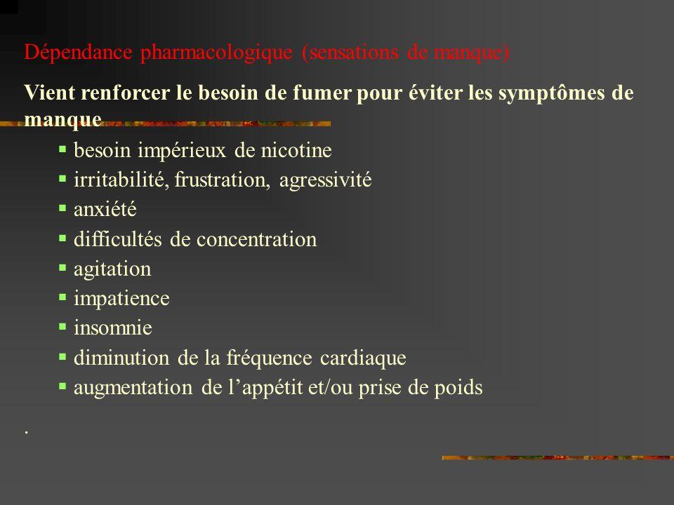 Dépendance pharmacologique (sensations de manque)