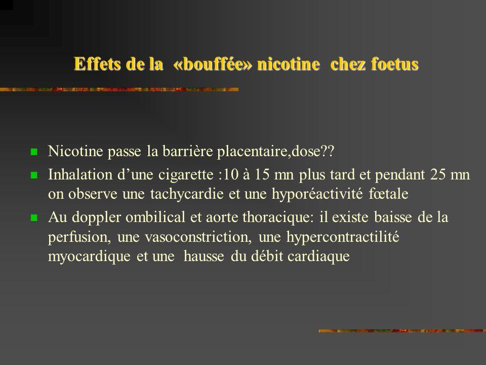 Effets de la «bouffée» nicotine chez foetus