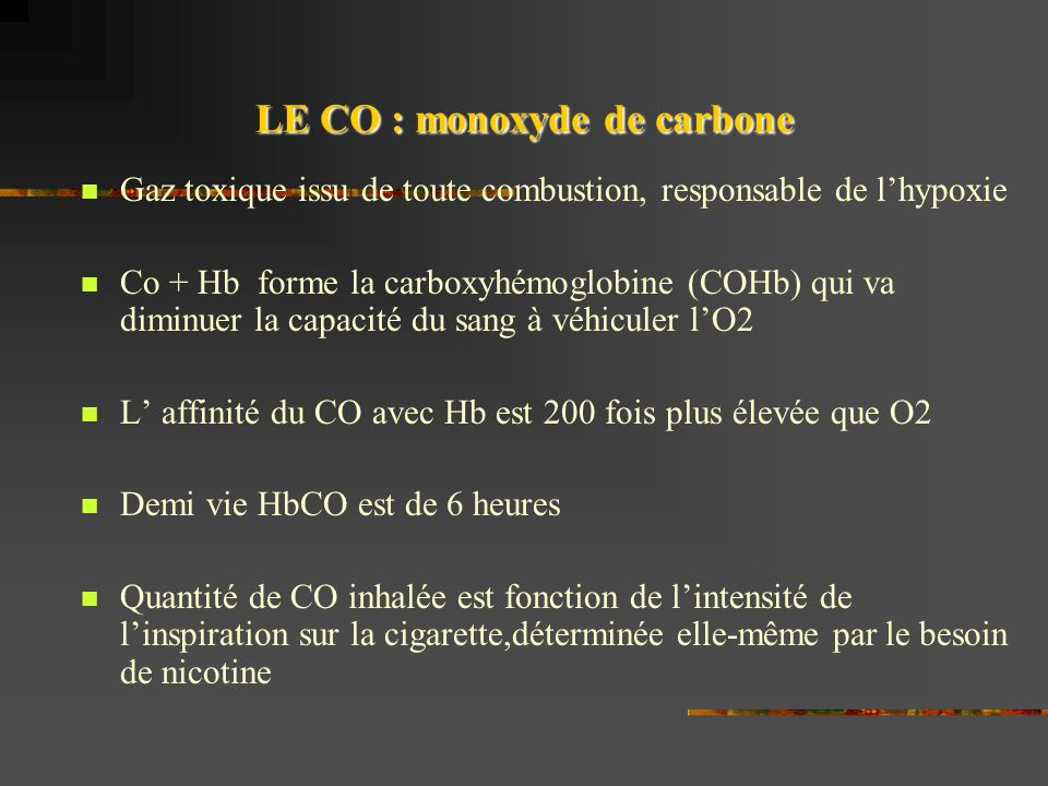 LE CO : monoxyde de carbone